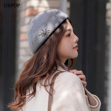 USPOP 2019 New women berets winter wool hats fashion hand-stitched rhinestone beading beret fedoras hat
