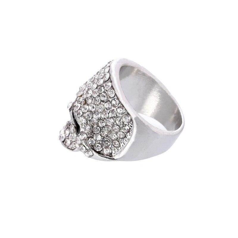 Gold Silver Black QUALITY Crystal Skull Ring Rock Punk Gothic Biker Jewellery