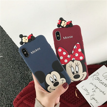 3D Mickey Minnie phone case with ears doll for coque iphone 8 6 6s 7 plus xr x xs max top lay cartoon brand silicone soft cover