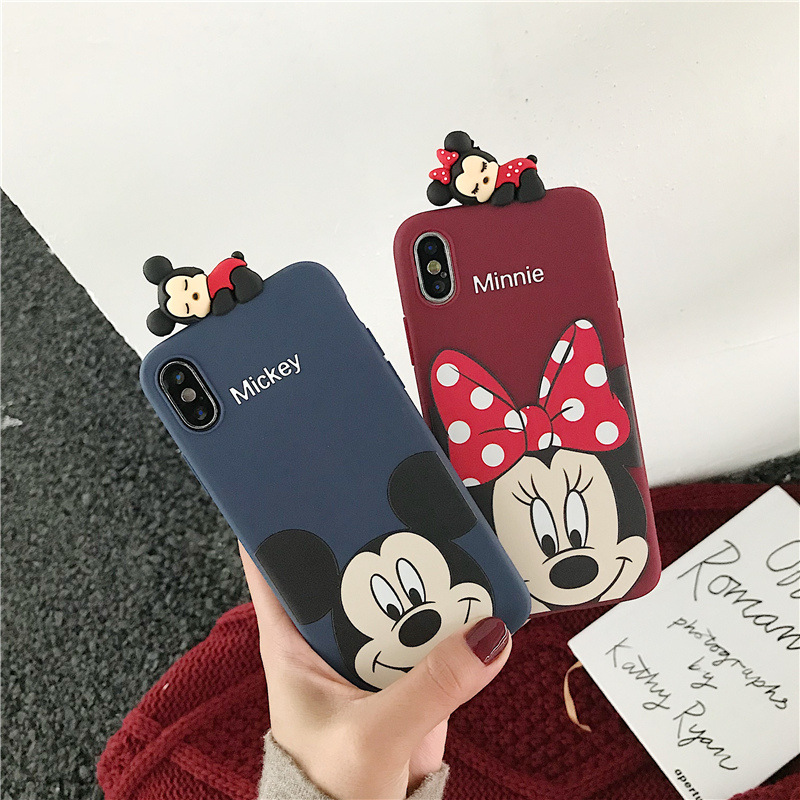 3D <font><b>Mickey</b></font> Minnie phone case with ears doll for <font><b>coque</b></font> <font><b>iphone</b></font> 8 6 <font><b>6s</b></font> 7 plus xr x xs max top lay cartoon brand silicone soft cover image