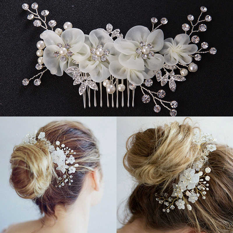 Wedding Party Fashion Headdress Bridesmaid Side Comb For Bride Handmade Pearl Flower Crystal Hair Pins Hair Accessories