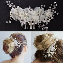Accesorios para el cabello tocado de dama de honor de fiesta de boda a la moda peine lateral para novia perla hecha a mano Flor de cristal