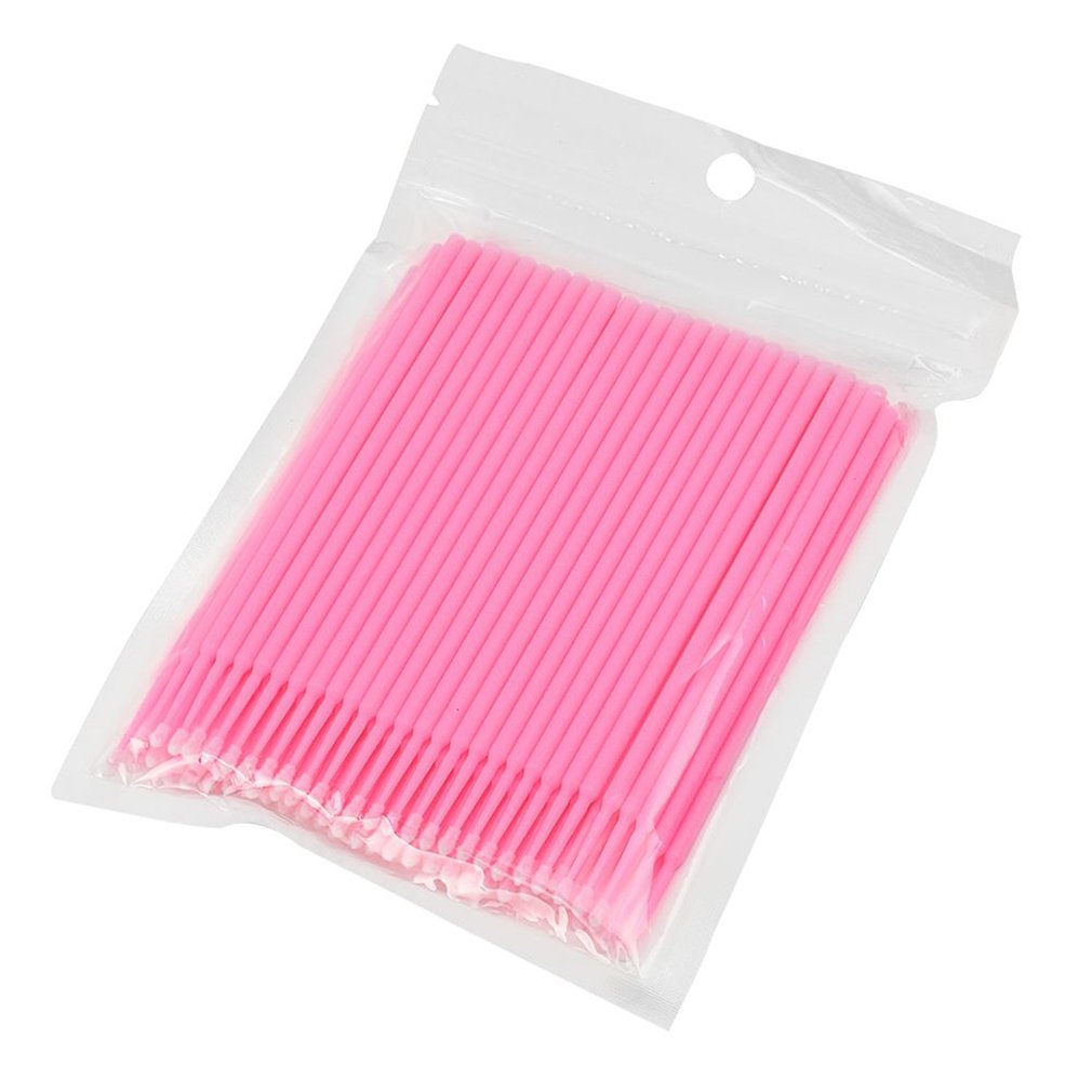 100 Pcs Disposable Micro Brushes Cotton Swab Applicators Tube For Eyelash Extension Glue Removal Lashes Graft Tools