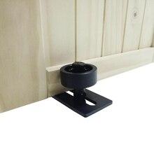 Herrajes para puerta de Granero, acero al carbono, ajustable, negro, con recubrimiento de polvo, guía inferior para suelo