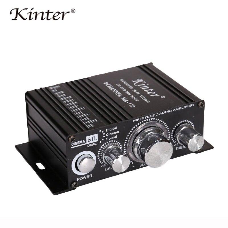 Kinter MA-170 Mini Amplifiers Audio Hifi Stereo Sound DIY 20W 2.0 Channel DC12V Treble Bass Control Aluminum Enclosure Red Auto