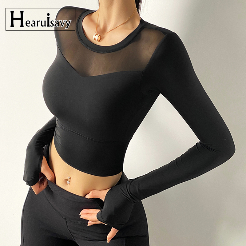 Sexy Net Yarn Patchwork Yoga Crop Tops Women Gym Fitness Running Long Sleeve Sport T Shirts Female Tight Dance Training Clothing