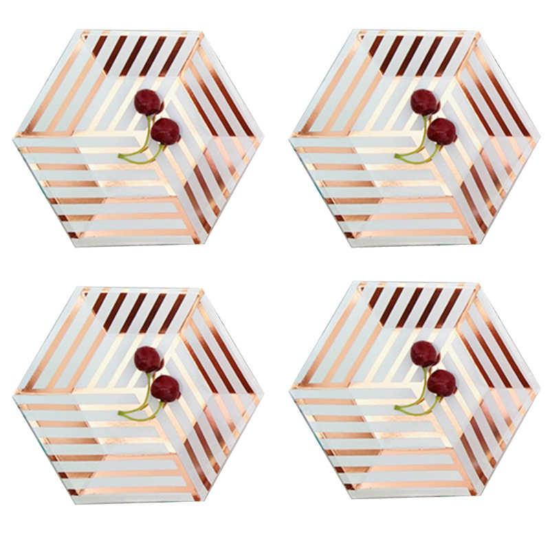 Позолоченные мраморные одноразовые столовые приборы, розовые бумажные золотистые тарелки, украшение для детского душа, принадлежности для свадьбы, дня рождения, вечеринки