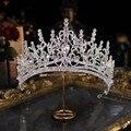 Барокко класса люкс с украшениями в виде кристаллов Сердце Свадебная Корона-Тиара большие стразы Театрализованное диадема для невесты, пов...