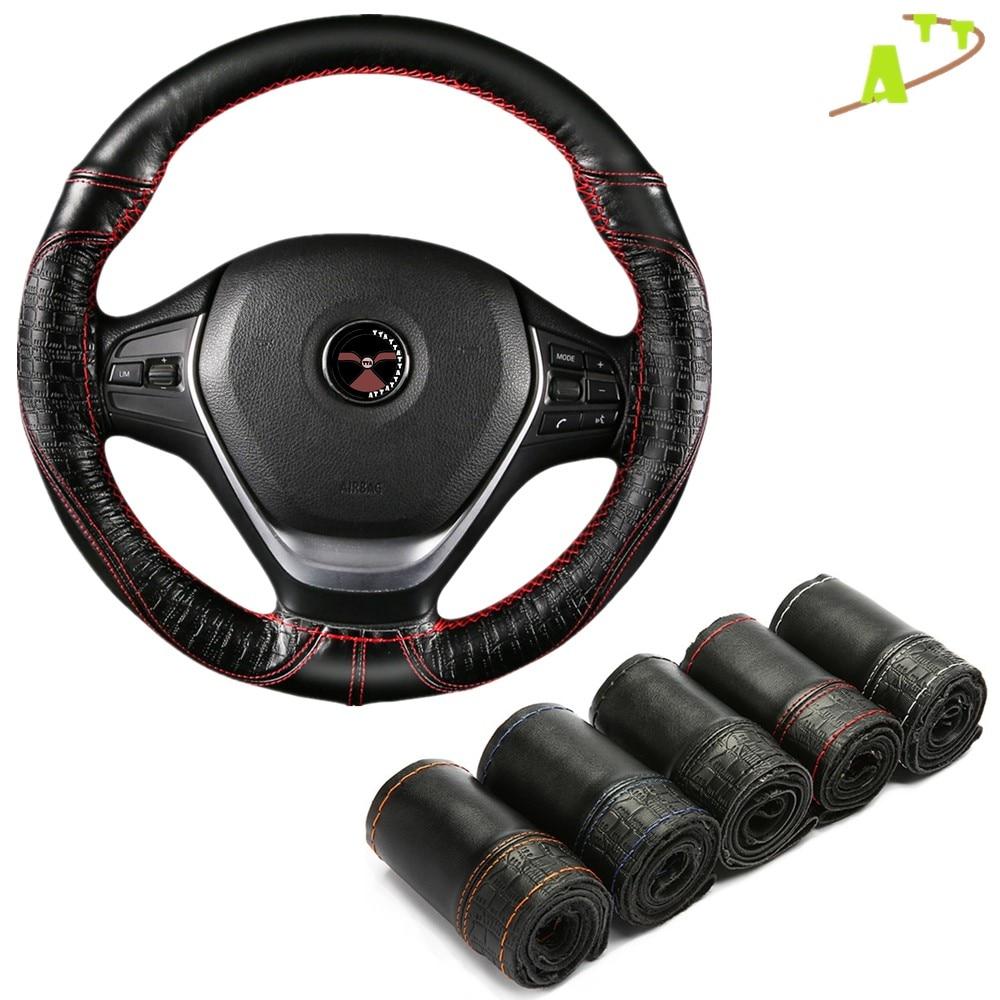Cobertura de volante do carro respirável anti deslizamento superior camada de couro capas de direção adequado 37-38cm cobertura de volante automática