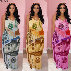 2020 Women Summer Long Maxi Dress Strap Dollar Print Loose Pockets Casual Street Bandage Dresses Night Club Party Vestidos GL115