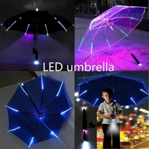 2019 Hot LED Light-Up Umbrella Variable Color Night Safety 8 Rib Light Umbrella With Flashlight Kids Cool Gift