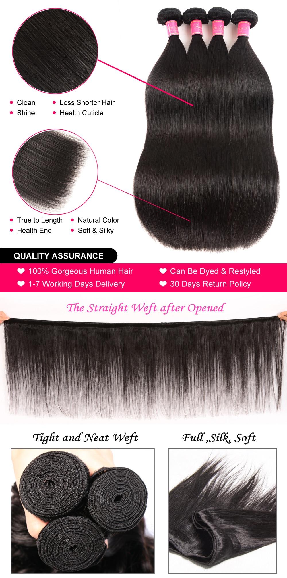 Ali Julia Hair Brazilian Straight Human Hair Bundles Remy 8 Inches to 30 Inches 1PC 3PCS 4PCS 100% Human Hair Weave Extensions (4)