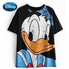 Camiseta negra con estampado de dibujos animados de Disney para mujer, bonito Pato Donald, jersey de cuello redondo, camisetas holgadas informales de manga corta