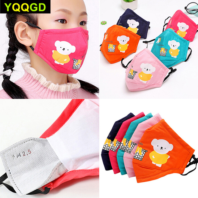 1Pcs Mouth Mask Children Kids Thicken Cotton Face Mouth Mask Cute Bear Cartoon Animal