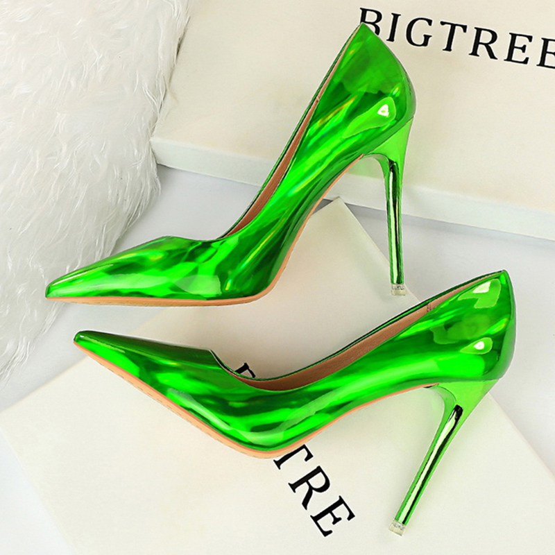 Patent Leather Shoes Women Pumps Sexy High Heels Women Shoes Stiletto Party Shoes Fashion Wedding Shoes Blue Women Heels Female