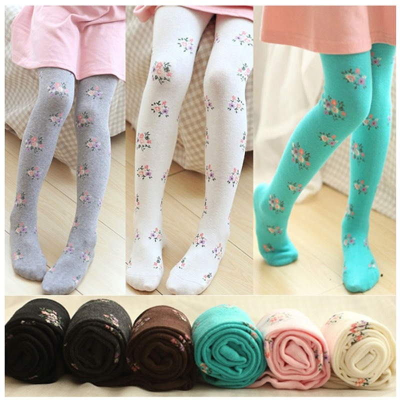 Girls Tights Stockings For Baby Toddler Kids Children Knitted Floral Style Elastic Cotton Pantyhose Winter Autumn Kids Tights