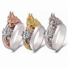 Chinese Dragon Ring with Zircon Personality Creative Men&Womens