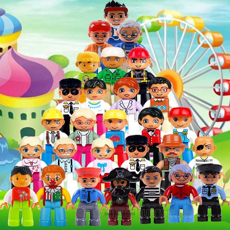 Compatible With Legoingly Duplo Figures Family Grandpa Grandma Police Doctors Worker Big Size Building Blocks Toys for Children