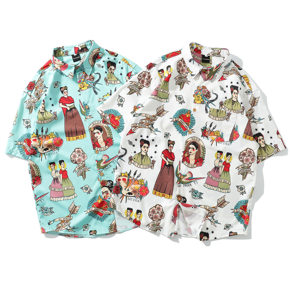 Men's Tops Hawaiian Shirt Men's Print Shirt Lapel Shirt Beach Shirt Casual Short Sleeve Summer Holiday Vacation Fashion Shirt