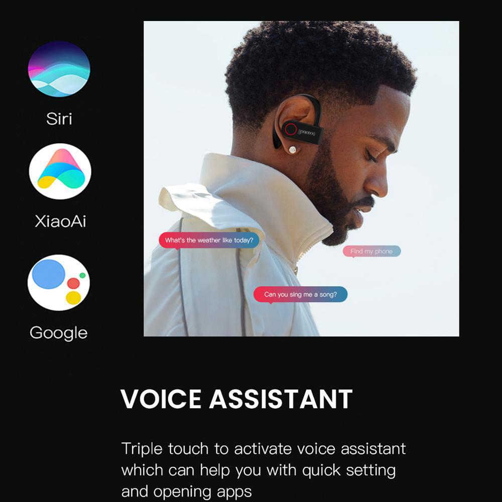 Goojodoq Benar Earbud Nirkabel Tws Bluetooth Earphone 5.0 dengan Charger Kotak Olahraga Earhook Bluetooth Headphone untuk iPhone Xiaomi