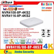 Dahua NVR Enregistreur Vidéo NVR4108-8P-4KS2 8CH 16CH NVR4116-8P-4KS2 8 ports PoE 4K & H.265 H.264 jusqu'à 8MP Résolution Max 80Mbps