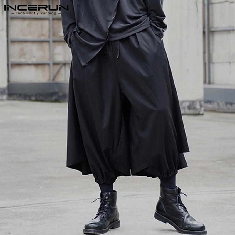 Punk Style Men Pants Solid Drawstring Streetwear 2020 Loose Fashion Skirts Trousers Joggers Casual Personality Pantalon INCERUN