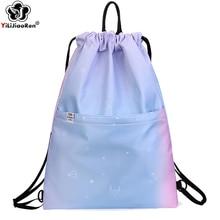цена на Fashion Gym Bag Women Drawstring Sports Backpack Bag Waterproof Nylon School Bags for Girls Large Outdoor Travel Bag Summer Bag