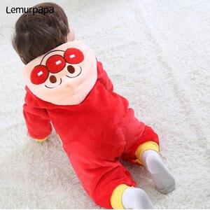 Image 5 - Inverno kawaii roupas da menina do bebê anpanmanonesie bebê recém nascido macacão de algodão do miúdo macacão infantil festa onesies macacão bonito traje