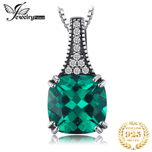 JewelryPalace Classic 2.1CT Cushion Nano Russian Simulated Emerald Pendant For Women Real 925 Sterling Silver Jewelry