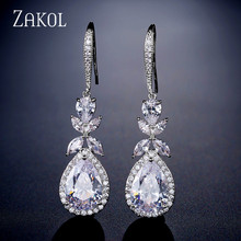 ZAKOL Shinny Water Drop CZ Zirconia Leaf Hook Dangle Earrings For Women Fashion Anniversary  Bridal Wedding Jewelry FSEP2315