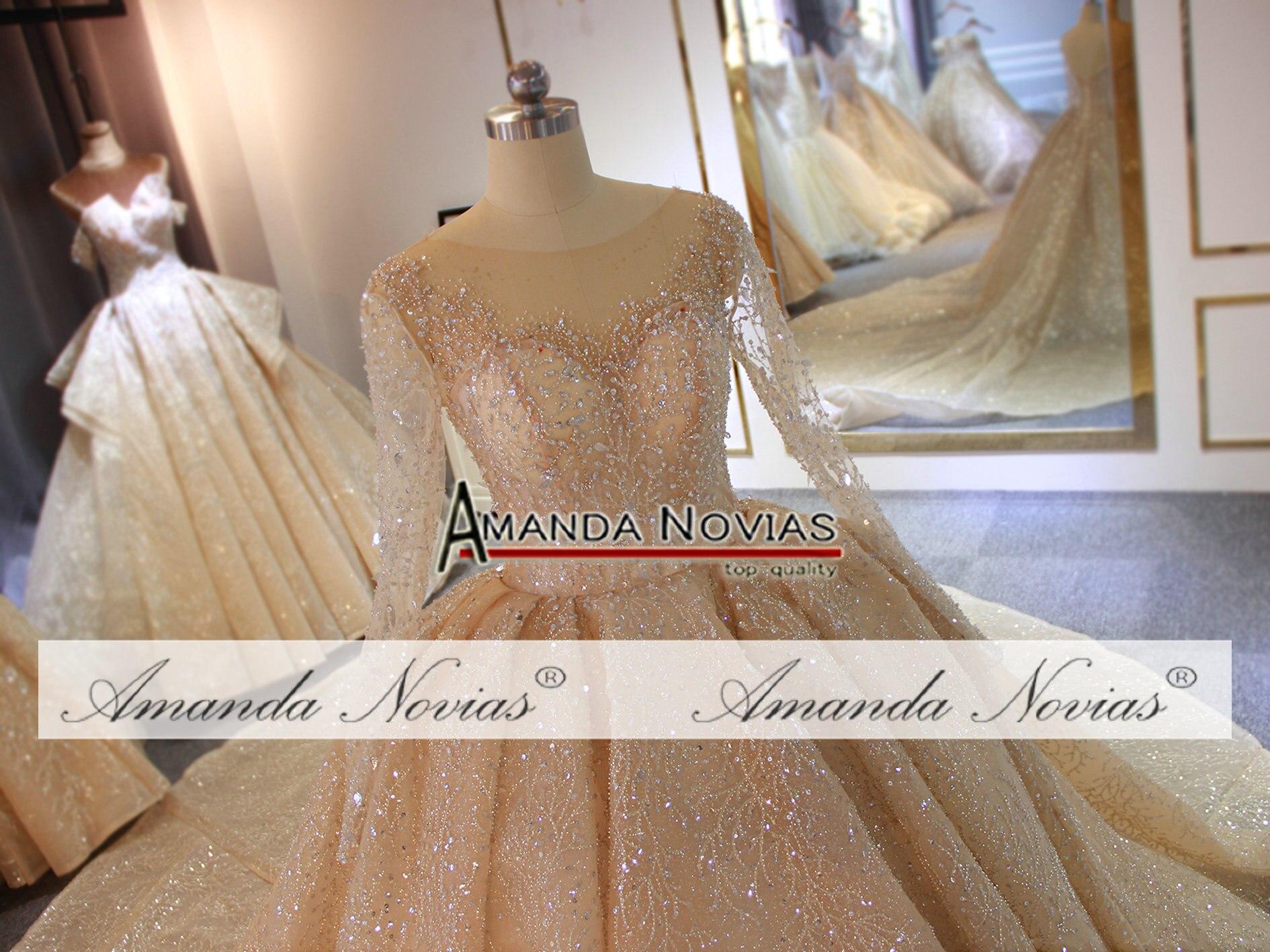 Image 5 - Champagne color long train wedding dress wedding gown bridal dress bridal gownWedding Dresses   -