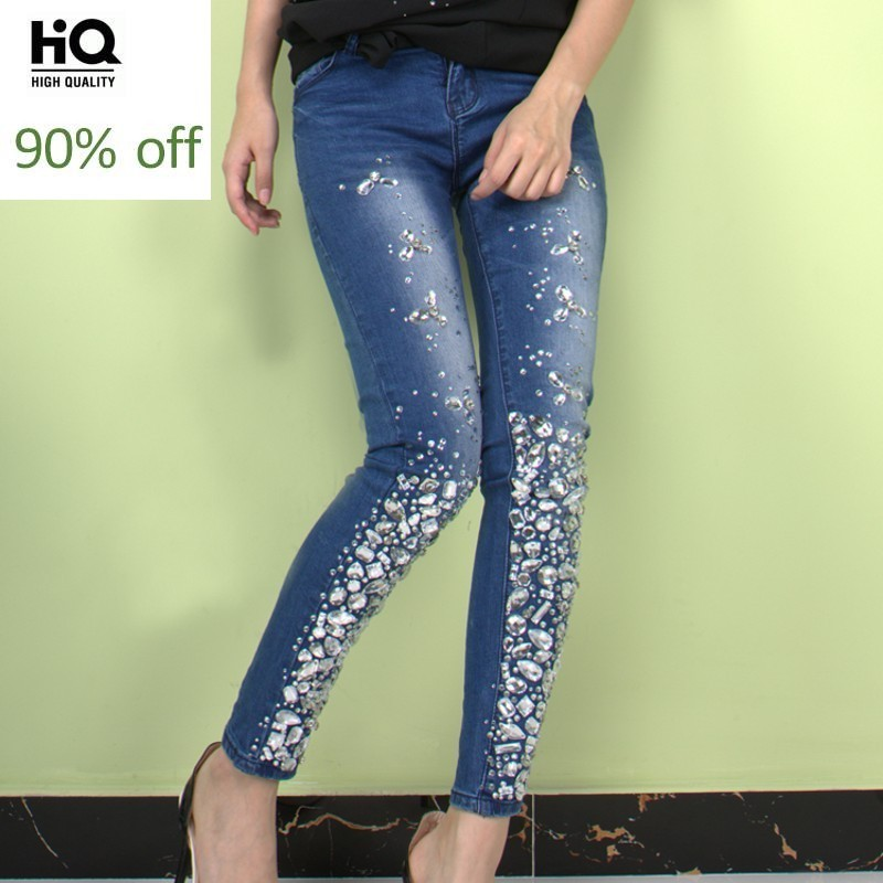 Hand Made Diamond Rhinestone Jeans Woman Embroidered Flares Skinny Stretch Denim Pencil Pants 2020 Fashion Party Office Jeans