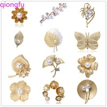 faux pearl cross shaped brooch Qiongfu 20 Kinds of Brooch Plant Brooch Brooch Pearl Brooch Brooch Fashion Clothing Pin Enamel Pins