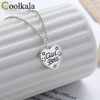 Coolkala East Gate s925 sterling Old Thai silver love tag pendant English letter heart-shaped necklace