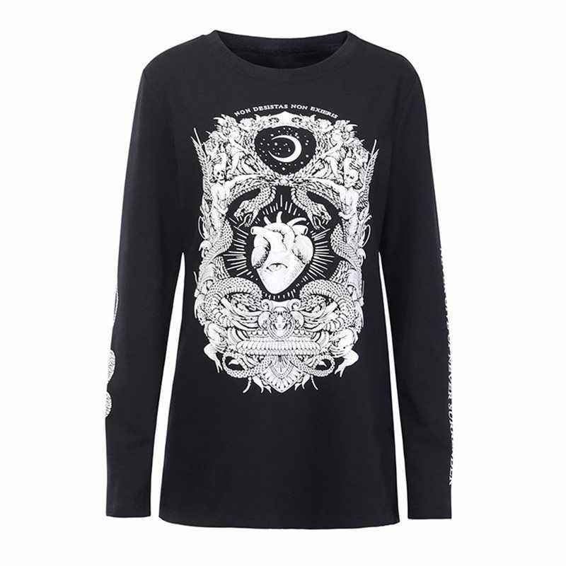 В готическом стиле, футболка с принтом в виде женский, черный панк для девочек топы в готическом стиле Повседневное в стиле «хип-хоп» с длинным рукавом Толстовка KPOP рубашка 2019 Для женщин моды