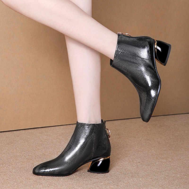 FEDONAS Geri Fermuar Kadın Büyük Boy yarım çizmeler Sıcak Chelsea kısa çizmeler Moda Hakiki Deri Yüksek Topuklu parti ayakkabıları Kadın
