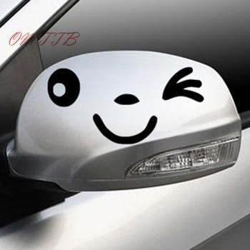 10cm*5cm Smiley Face Car Rearview Mirror Sticker Car Decal For bmw benz audi vw toyota mazda kia skoda cruze focus car styling