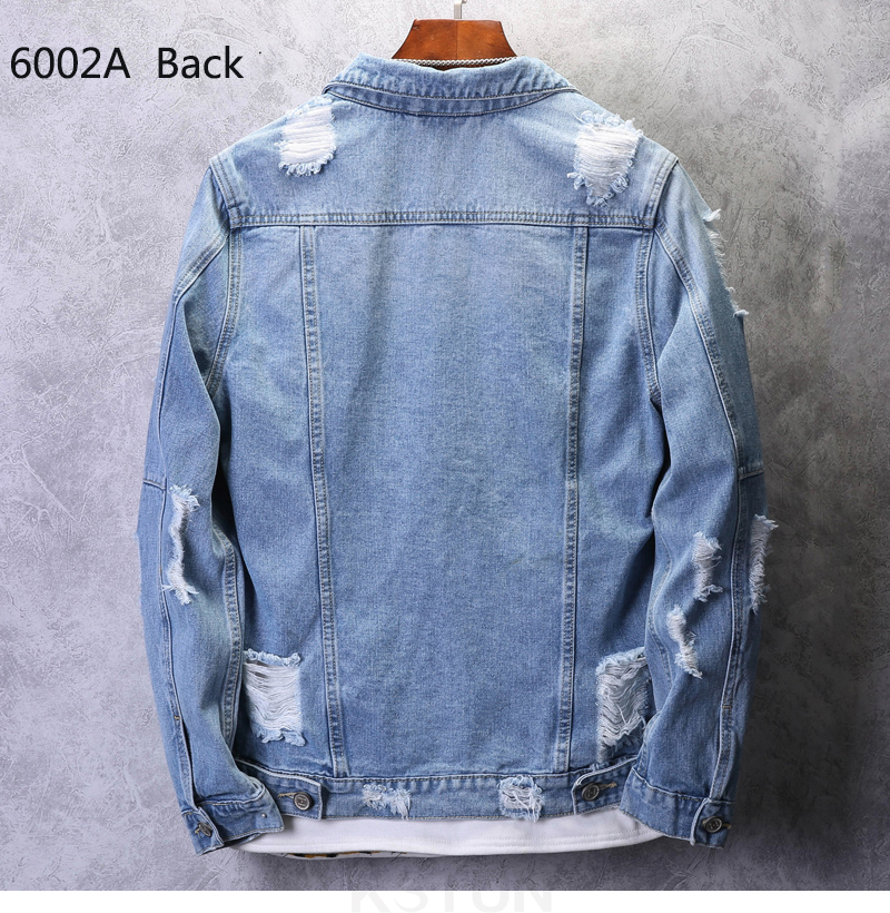 KSTUN Mens Jean Jacket Coats Light Blue Streetwear Loose Fit Ripped Denim Jacket for Man Teens Single-breasted Large Size 4XL 11