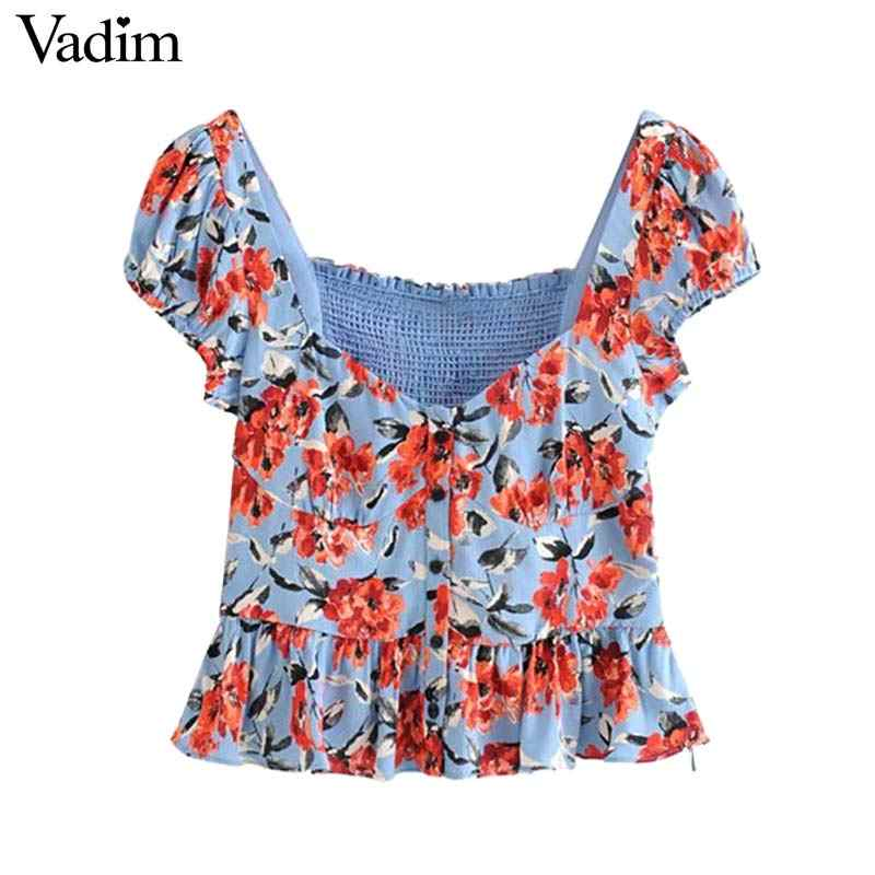 Vadim women elegant floral chiffon crop top V neck elastic back short sleeve pleated short blouse vintage sexy tops DA585