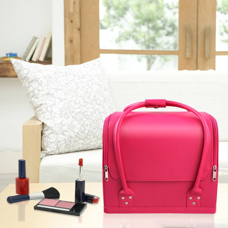 Pink Makeup Train Case 3 Layer Makeup Organizer Bag With Shoulder Strap Adjustable Dividers For Cosmetics Makeup Brushes Toiletr
