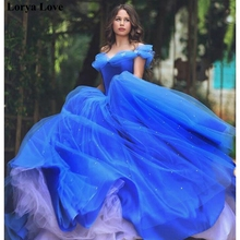 Ball-Gown Prom-Dress Quinceanera-Dresses Royal-Blue Flowers Tulle Fluffy Sweet 16 15-Anos