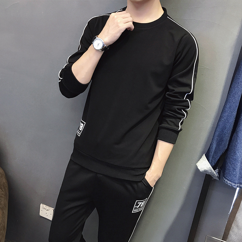 2020 Spring New Style MEN'S Sweater Trousers Set Teenager Casual Running Sports Set Students Two-Piece Set