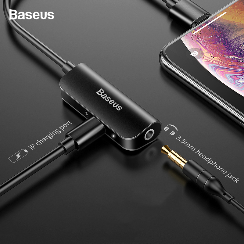 Baseus Aux Audio Adapter For Lightning To 3.5mm Jack Earphone Headphone 3.5 Connector For IPhone 11 Pro Xs Max Xr X 8 7 Splitter