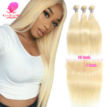 Tissage en lot naturel brésilien Remy lisse avec Closure – QUEEN BEAUTY, blond 613, 3 4, avec Lace Frontal Closure