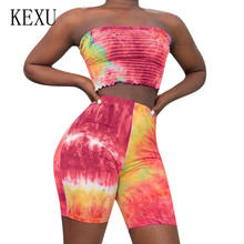 KEXU Strapless Summer Sexy Hollow Out Sleeveless Two Pieces Sets Jumpsuits Women Elegant Off Shoulder Skinny Playsuyits Rompers