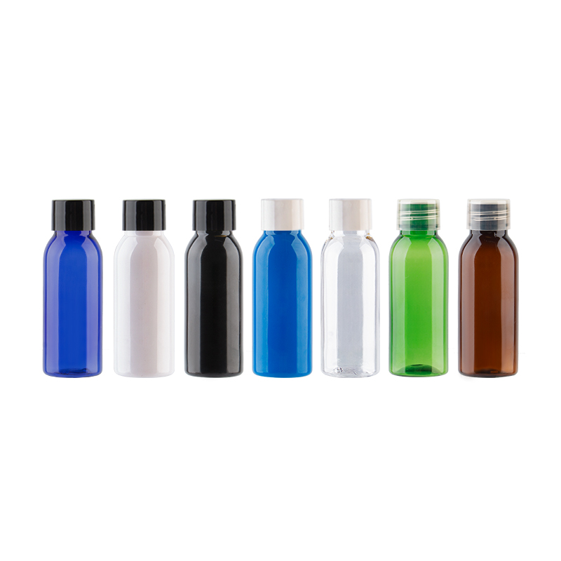 30ml Empty Cosmetic PET Bottles With Screw Lid Round Plastic Small Sample Bottle White Clear Black Blue Navy Containers 50Pcs