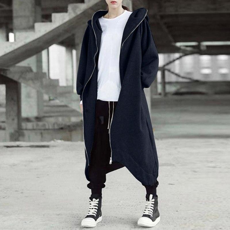 Hee2a91ee73924e10b63543399915ba7aW 2019 ZANZEA Winter Hoodies Sweatshirt Women Hooded Zip Long Sleeve Fleece Irregular Boyfriend Pockets Long Coat Jacket Plus Size