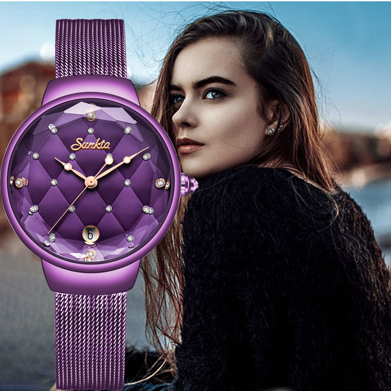 SUNKTA Women Watches Top Brand Luxury Ladies Mesh Belt Ultrathin Watch Stainless Steel Waterproof Clock Quartz Watch Reloj Mujer
