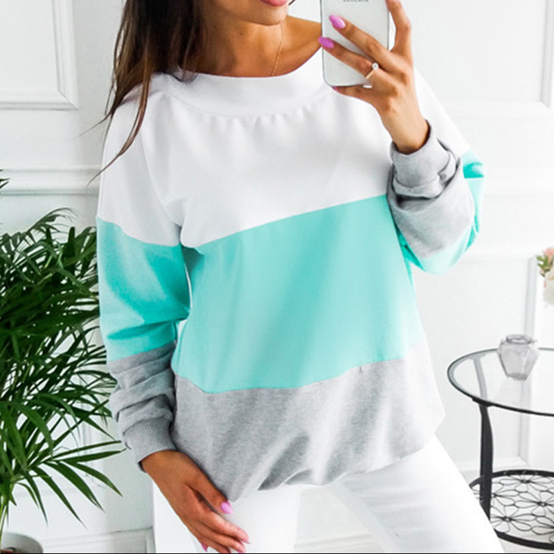 2019 Autumn Women Long Sleeve O-neck Contrast Patchwork Sweatershirt Casual Female Fashion Wild Pullovers