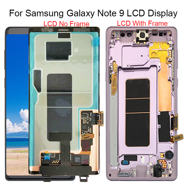 For Samsung Galaxy Note 9 N960 N960F N960D N960DS LCD Display Touch Screen Digitizer Assembly with Frame Assembly Replace 100% T